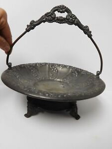 Antique 1916 Providence Repousse Footed Quadruple Plate Wedding Basket Dish