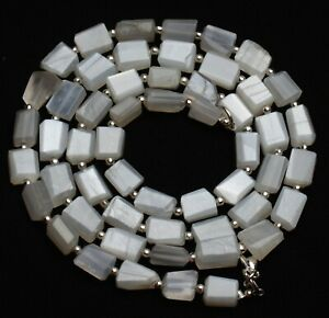 Natural Gem White Moonstone Faceted Nugget Beads Necklace 24 Inch 192Cts