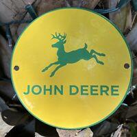 VINTAGE JOHN DEERE TRACTORS PORCELAIN SIGN ROUND FARM MACHINE METAL ENAMEL GREEN