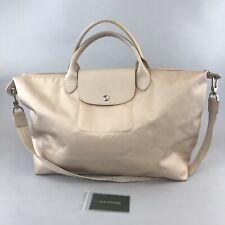Longchamp Le Pliage Modele Derose Beige Bag Nylon Leather Trim Tote Shoulder Bag