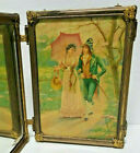 Antique Victorian Tri Fold Vanity Mirror Celluloid Victorian Couple   Lily of Va