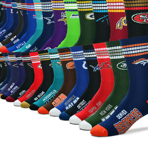 NFL 4 Stripe Deuce 504 Crew Men Socks SIZES LARGE -- Pick Your Team