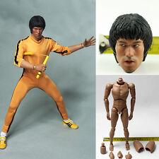 1/6 Scale Bruce Lee Head Sculpt KungFu Action Figure Body Clothing suit Jumpsuit