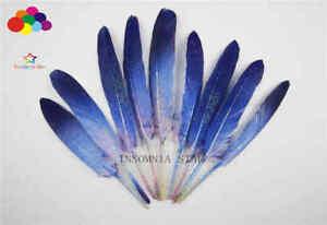 10-100 Pcs Blue Duck Feathers 4-6inch/10-15cm carnival Diy costume headress mask