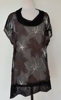 TAKING SHAPE TS Black/Embroidered Flower Sheer Mesh Stretch Knit Top Size XXS