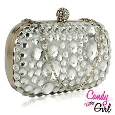 Silver Crystal Diamante Satin Clutch Bag For Prom, Wedding, Evening, Party