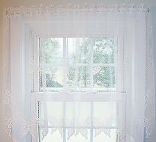 Butterflies Curtain Tier 60x30 White Heritage Lace