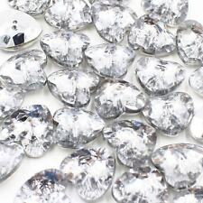Heart Button J99 Lot 20 15mm 24L Acrylic Rhinestones Silver Back Sewing Crafts