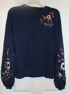 Lucky Brand Womens XL Navy Blue Embroidered Pullover Cotton Sweater NWT