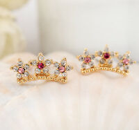 New 18K Gold Plated Zircon Crystal Crown Flower Stud Earrings Fashion Gift