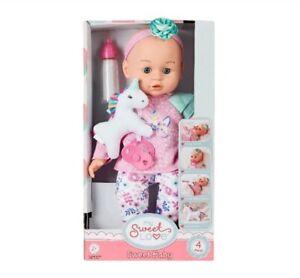 "BABY DOLL 4pc Set: 14"" Doll, Bottle, Pacifier, Unicorn Plush. Eyes Open & Close!"