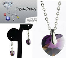 2 pcs Jewerly Set Amethyst Crystal necklace earring pouch Yellow Goldplate NEW