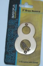 """SOLID POLISHED BRASS NUMBER+SCREWS '8' (Eight) 75mm/3"""" Large House Front Door"""