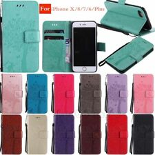 3D Embossed Wallet Flip Leather Case Cover For iPhone X 8 7 6 Plus Samsung Phone