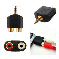 Gold Plated stereo Audio male Plug to 2 RCA female jack Y 3.5mm Adapter Black