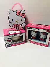Hello Kitty Gift Pack Lot Glasses/ Ice Tray, Sculpted Mug, Head Shaped Tin Purse