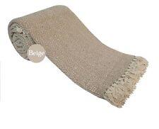 HERRINGBONE Pure 100% Cotton SOFA  SETTEE  BED Throw + Tasselled Edging