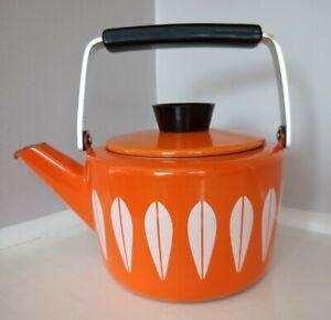 Vintage Enamel Ware Cathrineholm orange Teapot Kettle
