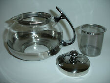 NEW Stainless Steel Glass TEA POT Teapot w. Stainless steel filter 700ML 3 CUP