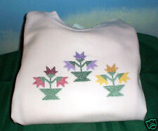 NEW PINK CROSS STITCH SWEATSHIRT FLOWERS HANES XL L@@K