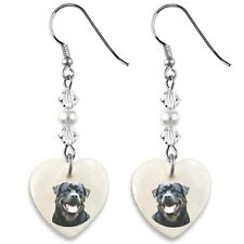 Rottweiler Dog 925 Sterling Silver Heart Mother Of Pearl Dangle Earrings EP296