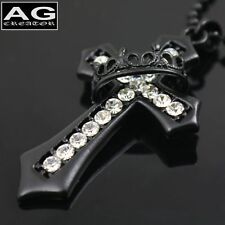 """Black cross clear cubic pendant with  23"""" ball chain necklace US SELLER"""