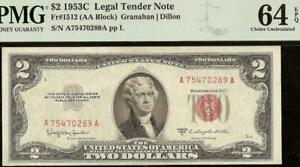 UNC 1953C $2 TWO DOLLAR LEGAL TENDER UNITED STATES RED SEAL NOTE PMG 64 EPQ