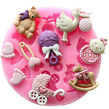 Silicone Cake Decoration Fondant Mould Mold Birthday Baby boy Shower Christening