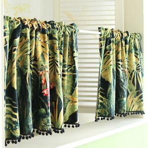 Short Shade Coffee Cabinet Door Rainforest Plant Print Curtain Window Valance