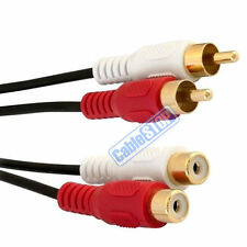 2.5m TWIN RCA PHONO EXTENSION RED WHITE Audio LEFT RIGHT Cable 2x Male to Female