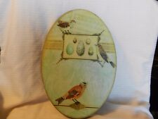 3 Songbirds with Eggs & Sheet Music Print Mounted on Wood Oval Shape
