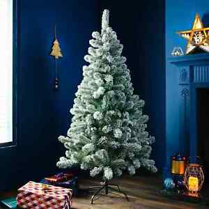 Snowy Festive Fir Christmas Tree 5ft with 312 Tips Green Colour X'mas Tree