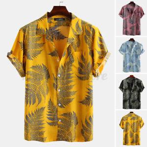 US STOCK Mens Short Sleeve Hawaiian Printed Fancy Dress Shirts Holiday Shirt Top