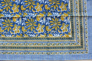 Indian Hand Block Print Tablecloth with 6 Napkins 100%Cotton Floral 150*220 cm