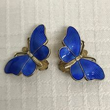 Ivar Holt Sterling Silver Guilloche Enamel Butterfly Clip Earring Pair Norway Vi