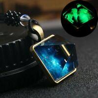 Retro Galaxy Nebula Pyramid Luminous Glow in the Dark Glass Pendant Necklace Hot