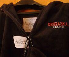 NWT SMALL Black Velour Nebraska Huskers Official Collegiate Zip Up Hoodie Jacket