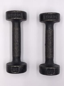 Pair Of Vintage York 1 lb Cast Iron Dumbbells (Pre USA Stamp)