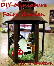 MINIATURE DIY FAIRY GARDEN LANTERN KIT w/ MUSHROOMS, FLOWERS, TREE & LAWN CHAIR