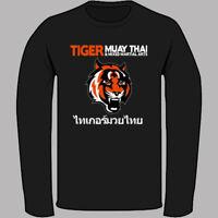 Tiger Muay Thai MMA Logo Kick Boxing Black Long Sleeve T-Shirt Size S-3XL