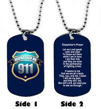 DOG TAG NECKLACE - Dispatcher's Prayer 1 Police Fire God Jesus 911 Emergency