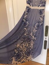GORGEOUS V BY VERY SCARF PRINT BLUE/CREAM LONG TALL MAXI DRESS S 10/12 UK NEW
