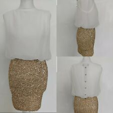 New Women's Party Dress Gold Sequins Skirt White Seethrough Clubbing Disco 10