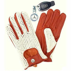 Men's Vintage Soft Black Goatskin 100% Geniune Leather Cotton Crochet Gloves