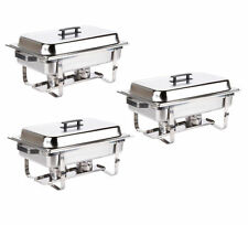 3 PACK CATERING STAINLESS STEEL CHAFER CHAFING DISH SETS 8 QT FULL SIZE BUFFET