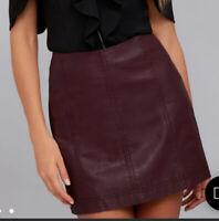 NWT $60 Free People Modern Femme Vegan Leather Mini Skirt BerryWine Short Size 8