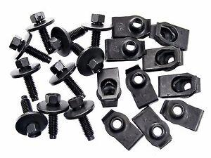 Ford Truck Body Bolts & U-nut Clips- M6-1.0 x 22mm Long- 8mm Hex- 20 pcs- #136