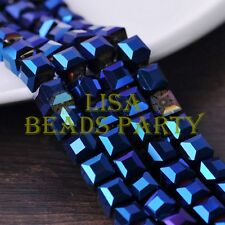 New 10pcs 10mm Cube Square Faceted Crystal Glass Loose Spacer Beads Blue Plated