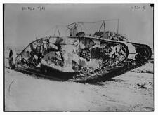 British Army Tank Battle of Somme 1915 World War 1, 7x5 Inch Reprint Photo