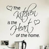 The Kitchen is the Heart of the Home Kitchen Wall Art Sticker, Decal, Quote
